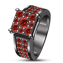 Solitaire With Accents Ring Round Cut Red Garnet 14k Black Gold Over 925... - $87.45
