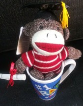 Plush In A Mug sock monkey graduation Gift Set - $6.66