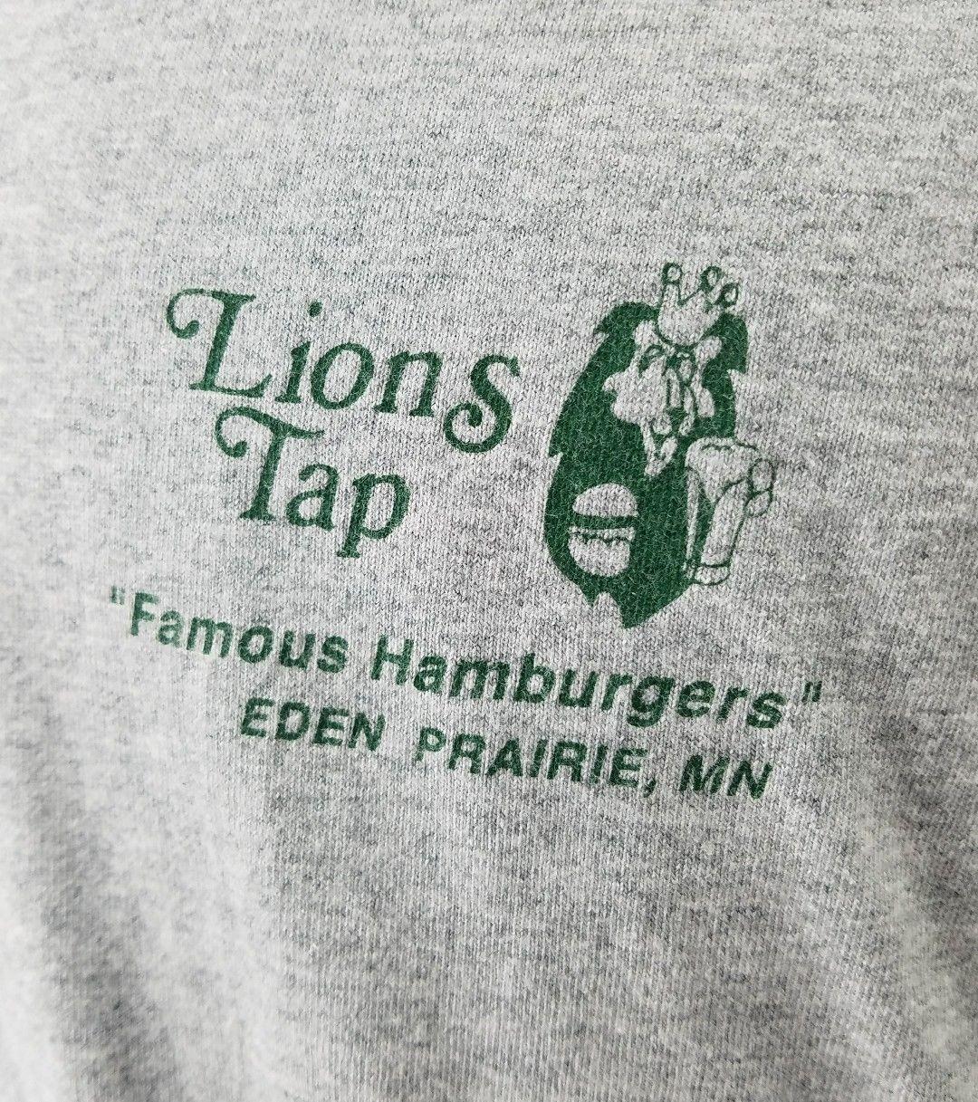 LIONS TAP Famous Hamburgers Bar Mens T Shirt Gray  Eden Prairie MN Size XXL