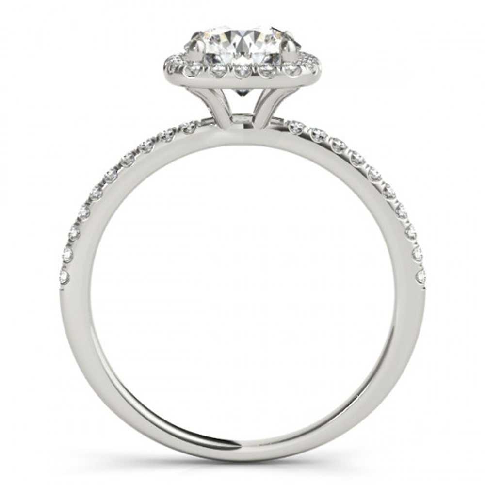 White Gold Plated 925 Sterling Silver Solitaire With Accents Ring Round Cut CZ