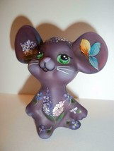 Fenton Glass Eggplant Purple Lilacs Mouse Figurine GSE Ltd Ed Kim Barley... - $174.12