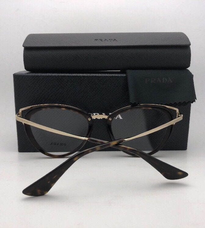 New PRADA Eyeglasses VPR 53U-F VYT-1O1 52-19 145 Burgundy Clear and Gold Cat Eye