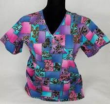 0556883525e Cherokee Womens Scrub Top Sz XS Floral Cotton Short Sleeve V Neck - $0.99