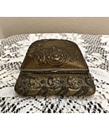 "Vintage Ornate Metal Trinket Box with Red Satin Lining. Measures 4"" x 4""... - $18.00"