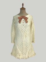 Vintage 1960s 1970s Retro Mod Lace Minidress Velvet Bow Junior Women's S... - $42.08