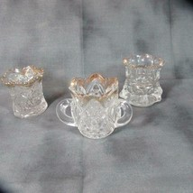 3 Antique Victorian EAPG Toothpick Holders, One 3 Handle US Glass?, Gold Rims - $40.21