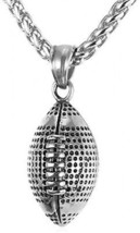 U7 Cool Rugby Pendant Necklace Men Jewelry Fashion Stainless Steel Wheat Chain - $32.91