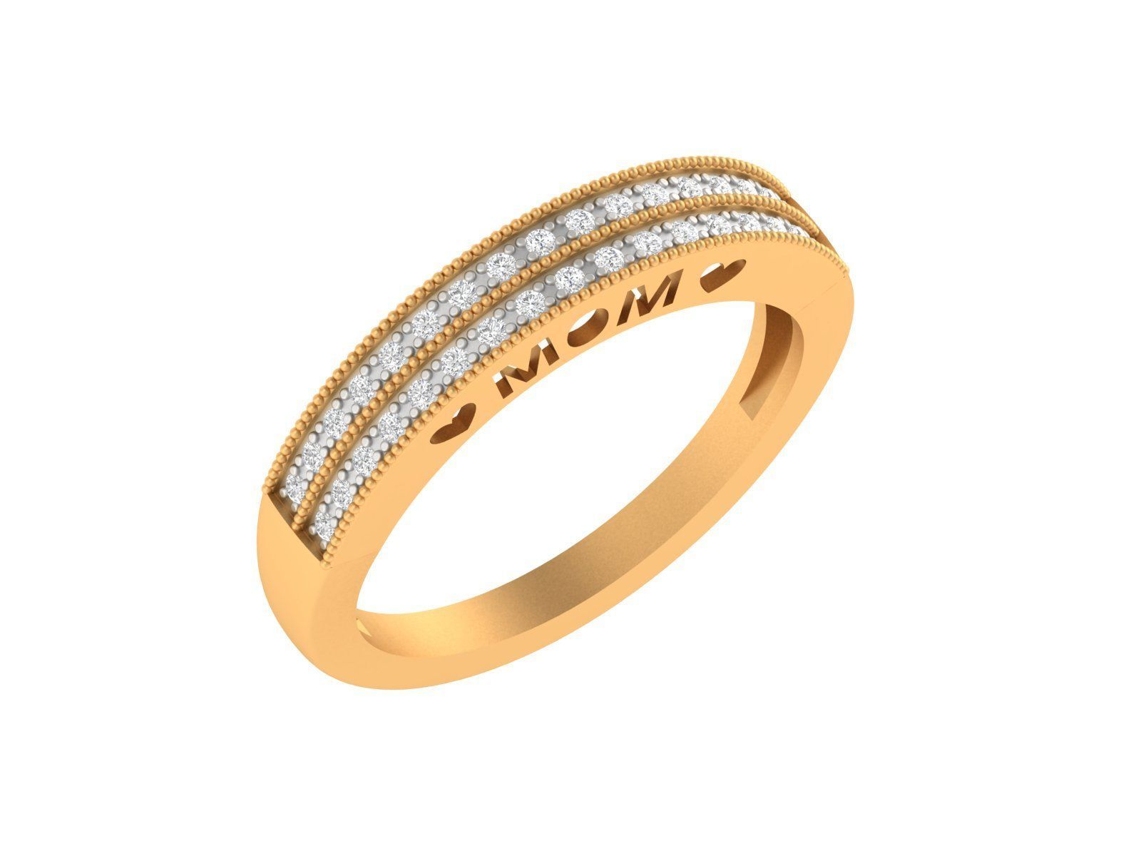 0.18ct Certified Untreated Diamond 14k Yellow gold Band Ring Jewelry