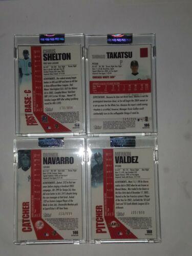 2004 Topps Pristine Refractors Navarro,Shelton,Valdez,Takatsu #ed (4) Card Lot