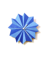 Unique wooden wall clock with 2 shades of blue - Origami blue - $89.00