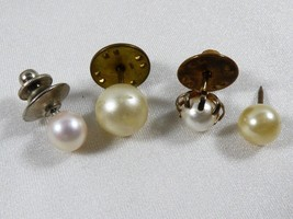 VTG Lot of 4 Pearl Faux bead Lapel Pin Tie Tack - $35.34