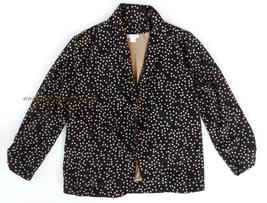 Womens Xhilaration Black Beige Tan Polka Dot Open Jacket Small ruched bl... - $8.00