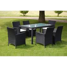 vidaXL Outdoor Dining Set 13 Pieces Poly Rattan Wicker Black Garden Furn... - $463.99