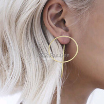Blogger Celebrity 1pair Hoop Threader Pull Thru Through Ear Studs Earrings Jewel - $14.24
