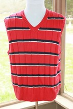 Tommy Hilfiger Size XL Sweater Vest Red Blue w/ White Striped Men's Big ... - $16.14