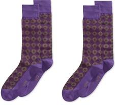 Pack of 2  --Alfani Mens Dot Midweight Socks purple - $10.88