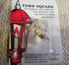 Dollhouse Lamp Lighting Electrical hanging white globe gold color Miniat... - $13.85
