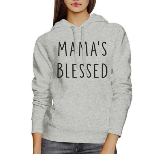 Mamas Blessed Unisex Gray Hoodie Fleece Cute Mothers Day Gift Idea