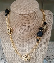 Swarovski Swan Black Gold Tone Beaded Crystal Gold Long Necklace - $30.00