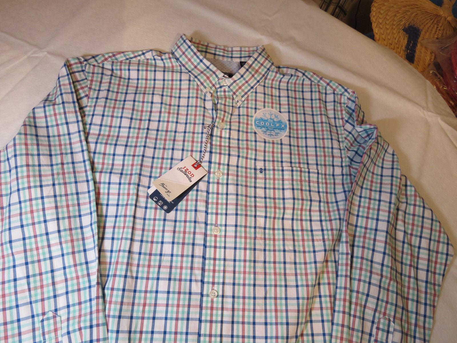 Mens Izod Saltwater The Breeze Shirt L/S button up shirt L Cascade 506503 white
