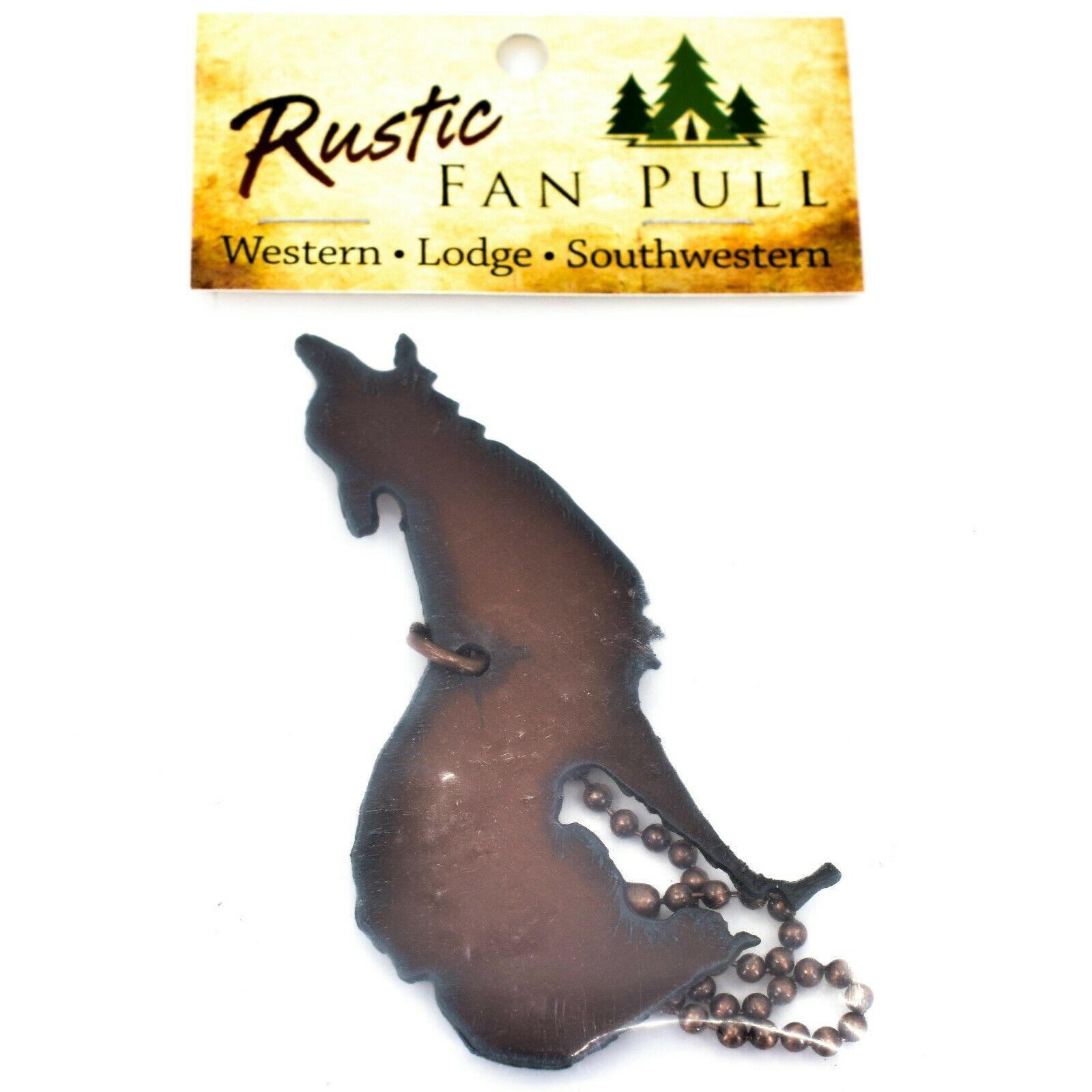 Country Western Rusted Patina Iron Metal Cutout Wolf Coyote Fan Light Pull Chain