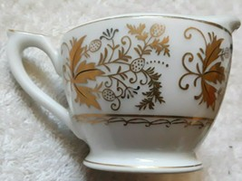 Vintage Lefton china hand painted small creamer gold leaf motif on white  - $5.00