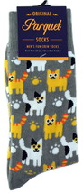 Paw Prints Mens Novelty Gray Crew Socks Casual Cotton Blend Fun Kitty So... - $12.95