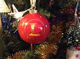 Letter L in Gold on Red Ceramic Monogram Ornament