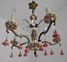 French Rococo Style Brass & Porcelain Capodimonte 5 Arm Crystal Chandel... - $422.81