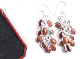925 Sterling Silver Plated Handmade Grape Bunch Sunstone Gems Earrings B... - $17.45