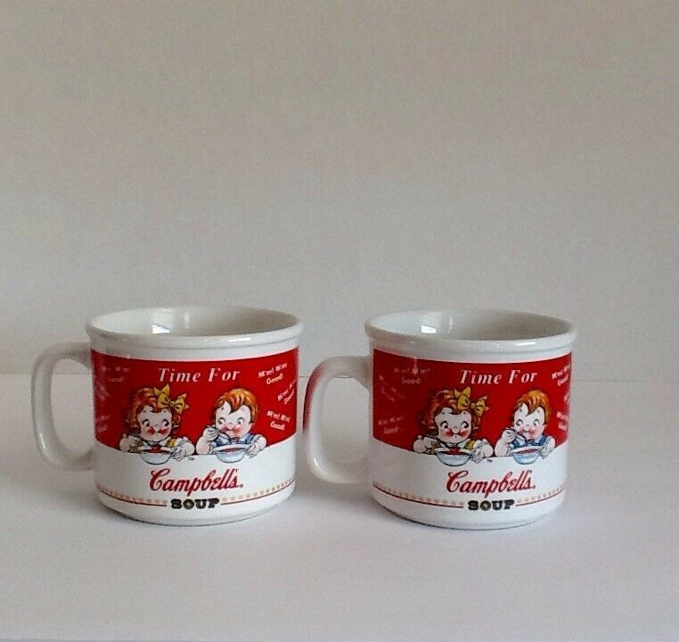 """Campbell's Kids Soup Mugs (2) Houston Harvest """"Time For Campbell's Soup"""" 1998"""