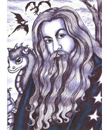 wizard baby dragon original art print pen ink drawing illustration fanta... - $7.99