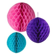 3 Sphere Honeycomb Party Hanging Decorations Mixed Sizes & Colours Purpl... - $98,91 MXN