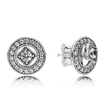 925 Sterling Silver Vintage Allure with & Clear CZ Stud Earrings QJCB1001 - $20.99