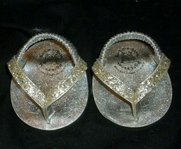 Construction bear pair of silver paillette sandals for your babw padded - $6.79