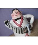 Vintage Department 56 figural tea time No. 1 concertina accordion teapot kitsch - $38.61