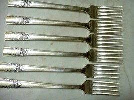 vintage ROGERS AA HEAVY SUCCESSOR SILVERPLATE FLATWARE~ 6 DINNER FORKS - $38.95