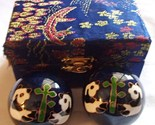 Chinese Baoding Therapy Stress Balls Enamel Cloisonne Finish Panda Blue or Red
