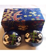 Chinese Baoding Therapy Stress Balls Enamel Cloisonne Finish Panda Blue or Red - €11,11 EUR