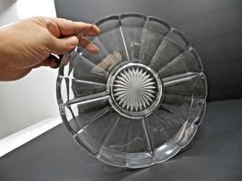 Vintage Mid Century large Elegant Heisey glass tray plate server marked H - $40.00