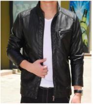 Mens Stand Collar Vegan Leather Biker Jacket - $64.99