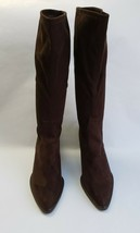 Donald J Pliner Crepe Knee Boots Shoes Brown Textile Stretch Womens Size 9.5 M - $168.25