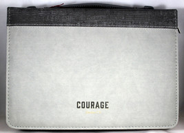 Courage LuxLeather Bible Cover Two-tone Gray Large Joshua 1:9 7 x 10 1⁄8... - $26.53