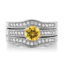 925 Sterling Silver Round Yellow Citrine Set of 3 Fitted Ring 1.24 cttw ... - $115.18
