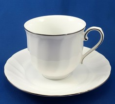 Mikasa Wedding Band Platinum Cup and Saucer L9706 White Swirl w Platinum... - $9.03