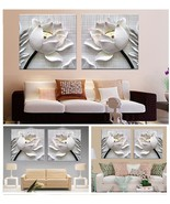 BIG SIZE  Decor Modern 3D White Lotus Pictures Canvas Home Living Room W... - $31.43+