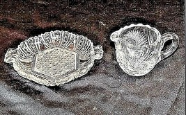 GlassCreamer and Serving Tray with Detailed AA18-11894VintageHeavy Etched image 1