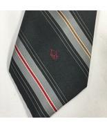 Christian Dior Gray Red Silver Mens Silk Blend Tie Classic Stripe Striped - $19.77