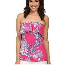 Lilly Pulitzer Wiley Ruffle Tube Top XXS Pink Print 100% Cotton - $20.79