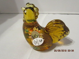 FENTON ART GLASS 2005 AUTUMN GOLD HP SPECIAL ORDER ROOSTER FIGURINE~BURK... - $58.00